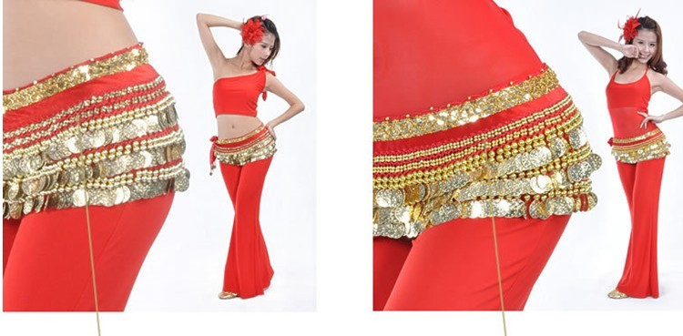 2013 Shining Sequins Belly Dance Hip Skirt Scarf Wrap Belt RED