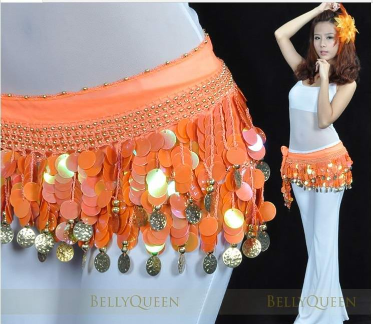 Cheap Orange belly dance Hip Scarf waistband belt skirt