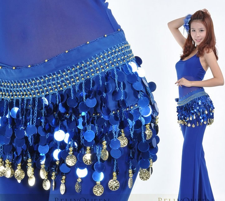 Cheap Dark Blue belly dance Hip Scarf waistband belt skirt