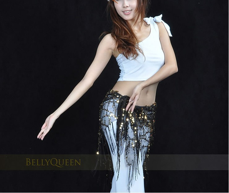 Gold Shining Sequins Triangle Hip Scarf Belt Belly Dance Costume