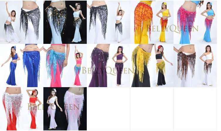 Shining Sequins Triangle Hip Scarf Belt Belly Dance Costumes han