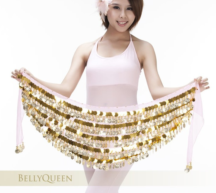 Brand New Sequins & Coin Belly Dance Hip Scarf Belt Pink