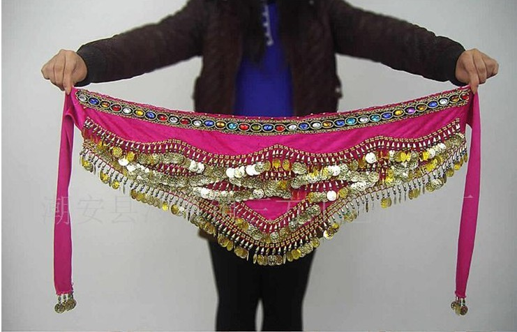 Gem belly dance gold coins hip scarf