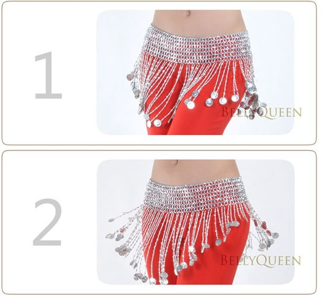 New Belly Dance Costume Accessory Bead & Coin Hip Skirt Scarf