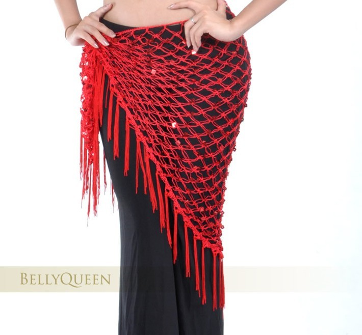 Belly Dancing Triangular Shawl Wrap Hip Scarf Red