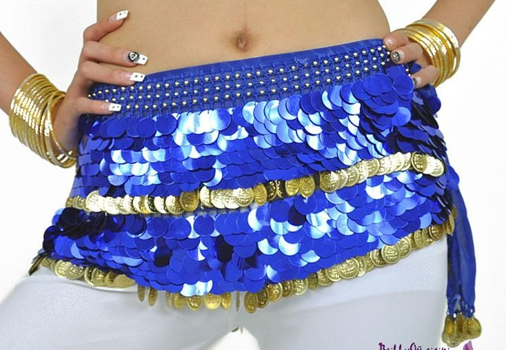 SEO_COMMON_KEYWORDS Chiffon Sequins Blue Belly Dance Hip Scarf Skirt Wrap Gold Coins