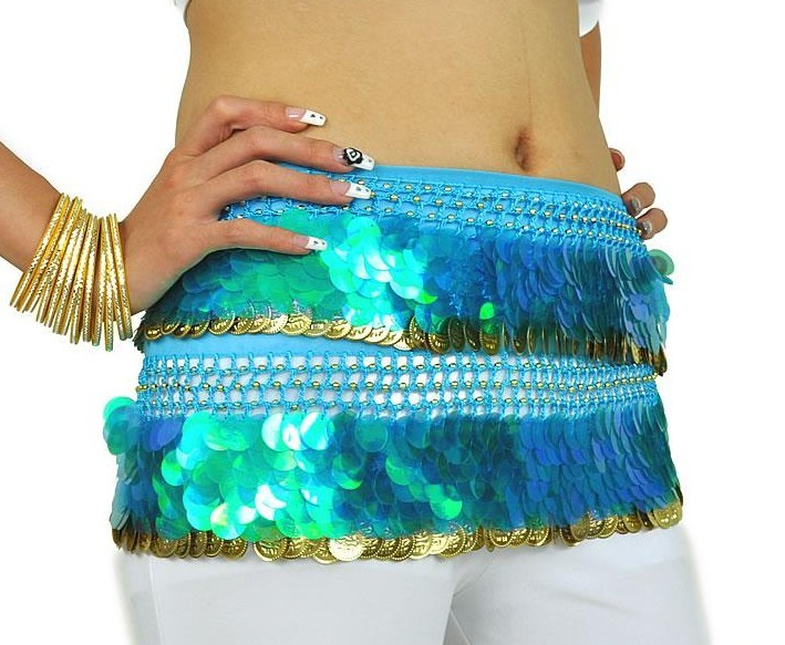 SEO_COMMON_KEYWORDS Chiffon Sequins Green Belly Dance Hip Scarf Skirt Wrap Gold Coin