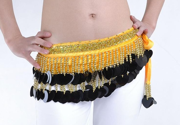 Black Sequins Belly Dance Scarf with Yellow Belt