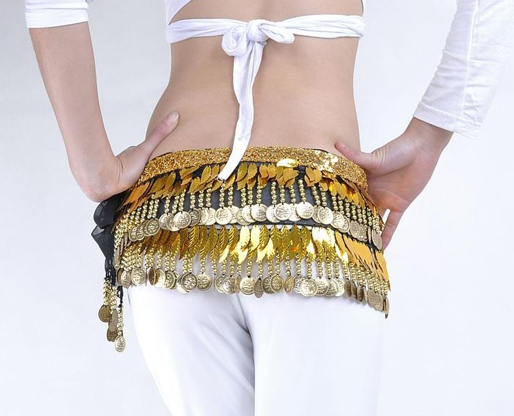 Belly Dance Hip Scarf with Leaf and coins