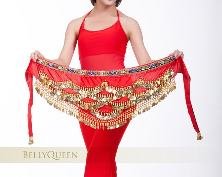 SEO_COMMON_KEYWORDS New Red Belly Dance Dancing Hip Scarf Belt Velvet Gold Coins
