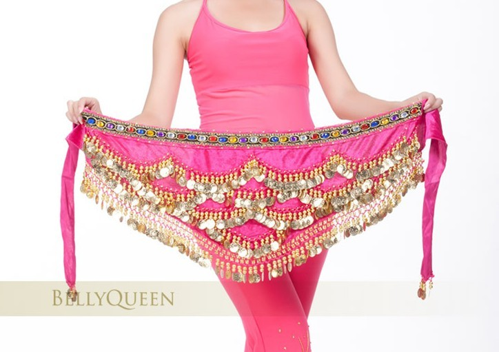 SEO_COMMON_KEYWORDS New Pink Belly Dance Dancing Hip Scarf Belt Velvet Gold Coins
