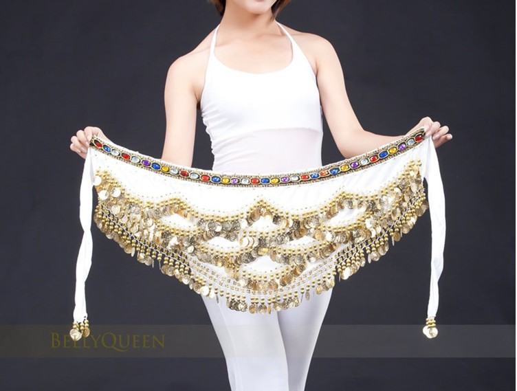 New White Belly Dance Dancing Hip Scarf Belt Velvet Gold Coins