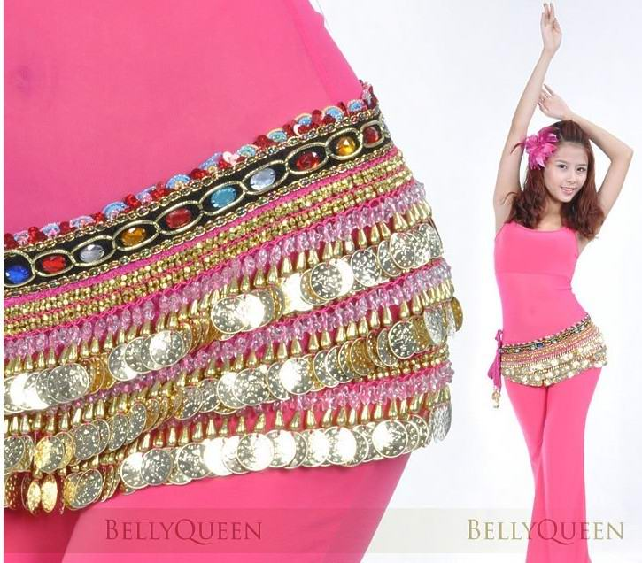 Velvet Belly Dance Dancing Coin Sash Hip Scarf Wrap Cheap [Belly090]