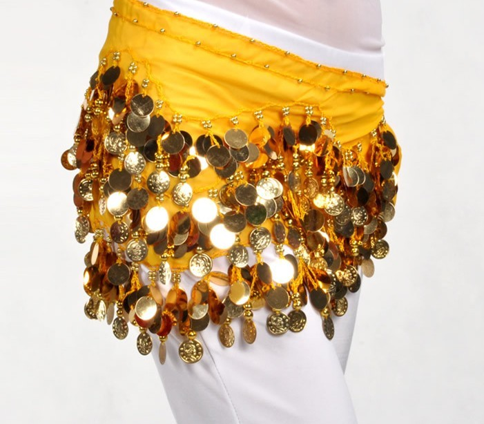2013 Belly Dance Hip Scarf Belt Hip Wrap Skirt 128 gold coins
