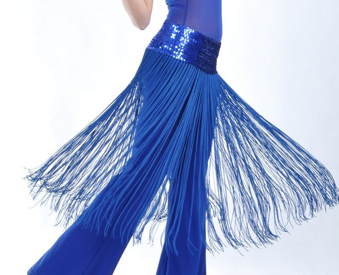 Brilliance Belly Dance Costume Tassel Blue Hip Scarf Wrap Belt