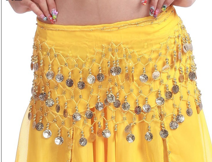 SEO_COMMON_KEYWORDS 2013 Belly Dance Hip Skirt Scarf Wrap Shining Coins Belt LIGHT Y