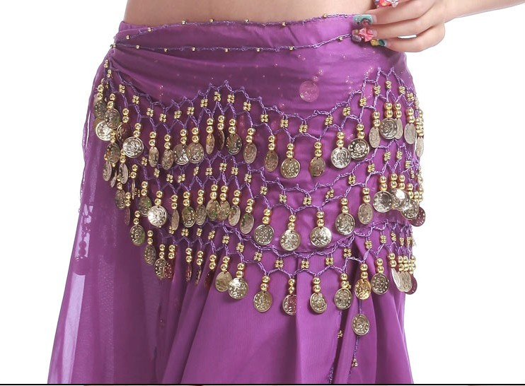2013 Belly Dance Hip Skirt Scarf Wrap Shining Coins Belt Purple