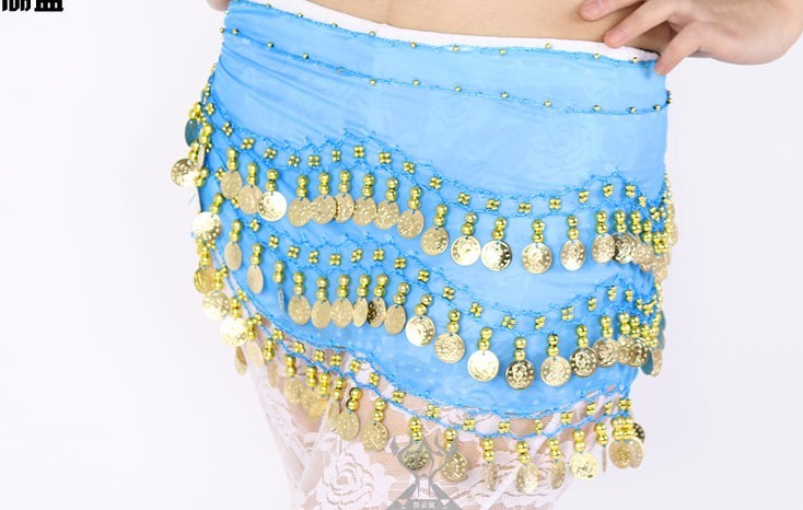 SEO_COMMON_KEYWORDS 2013 Belly Dance Hip Skirt Scarf Wrap Shining Coins Belt blue2