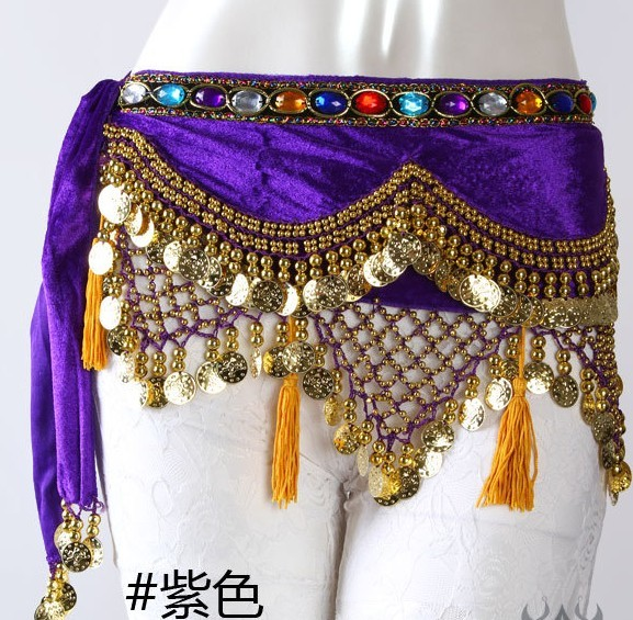 SEO_COMMON_KEYWORDS Wave style purple belly dance Hip Scarf waistband belt skirt