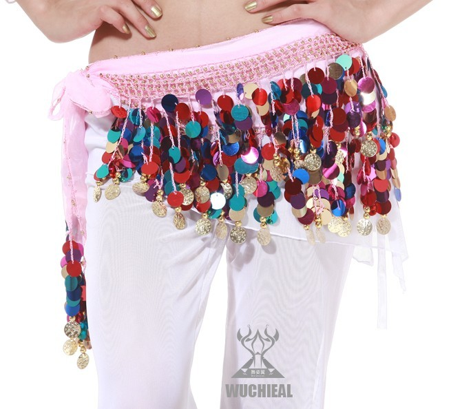 Colorful Shining Sequins Hip Scarf/Skirt Belt Belly Dance Costum