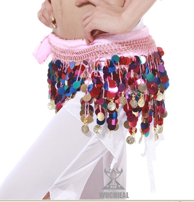Colorful Shining Sequins Hip Scarf/Skirt Belt Belly Dance Costum - Click Image to Close