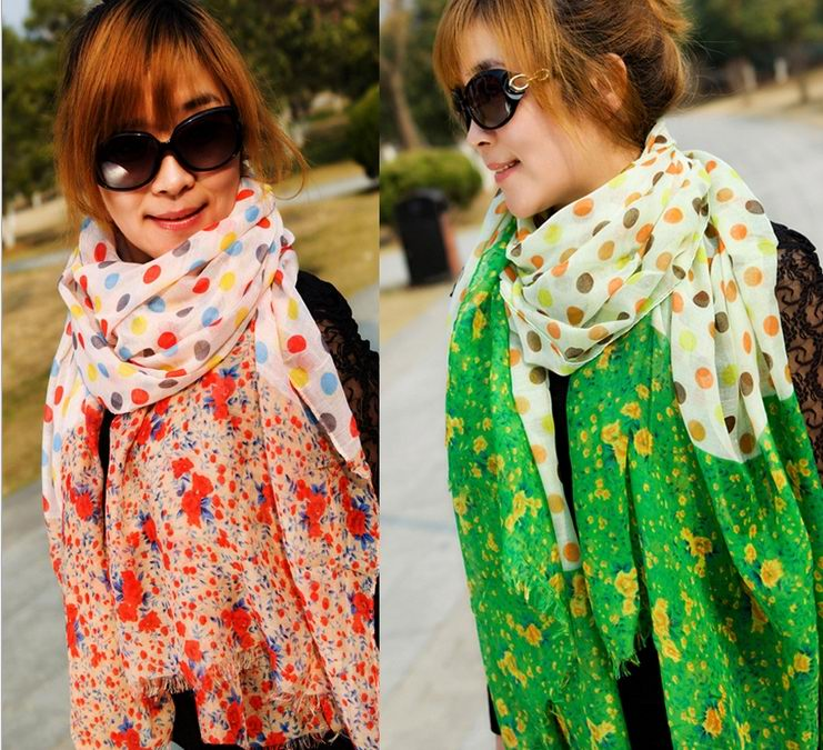 Cheap Flower and Dot pattern viscose scarf