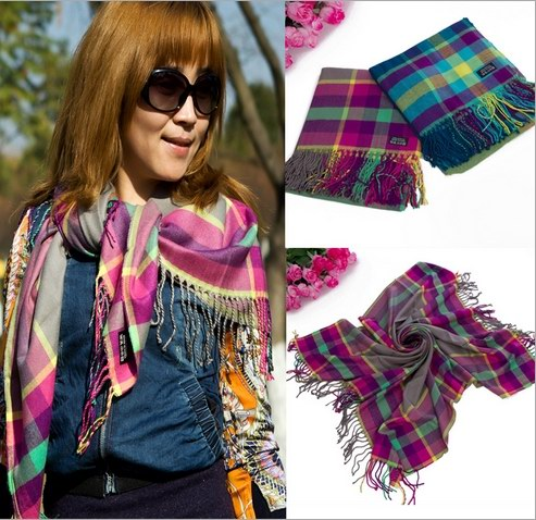 Cheap Square Check cotton pashmina scarf