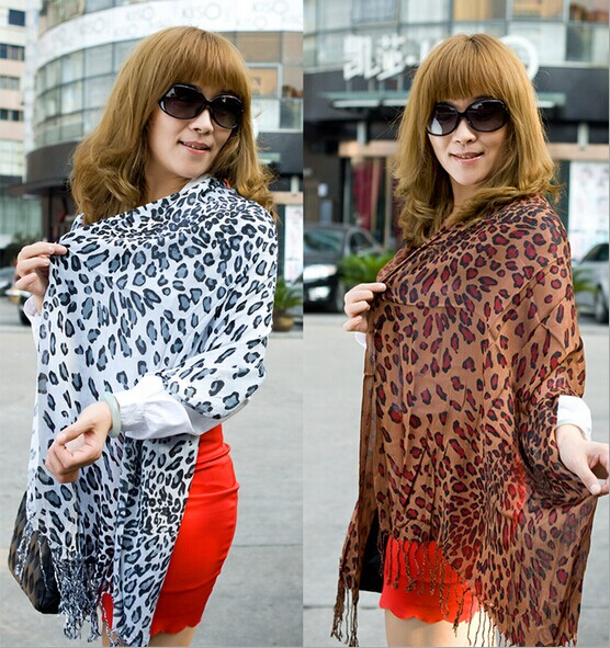 Leopard Print Cotton/Pashmina Scarf with Good Quality