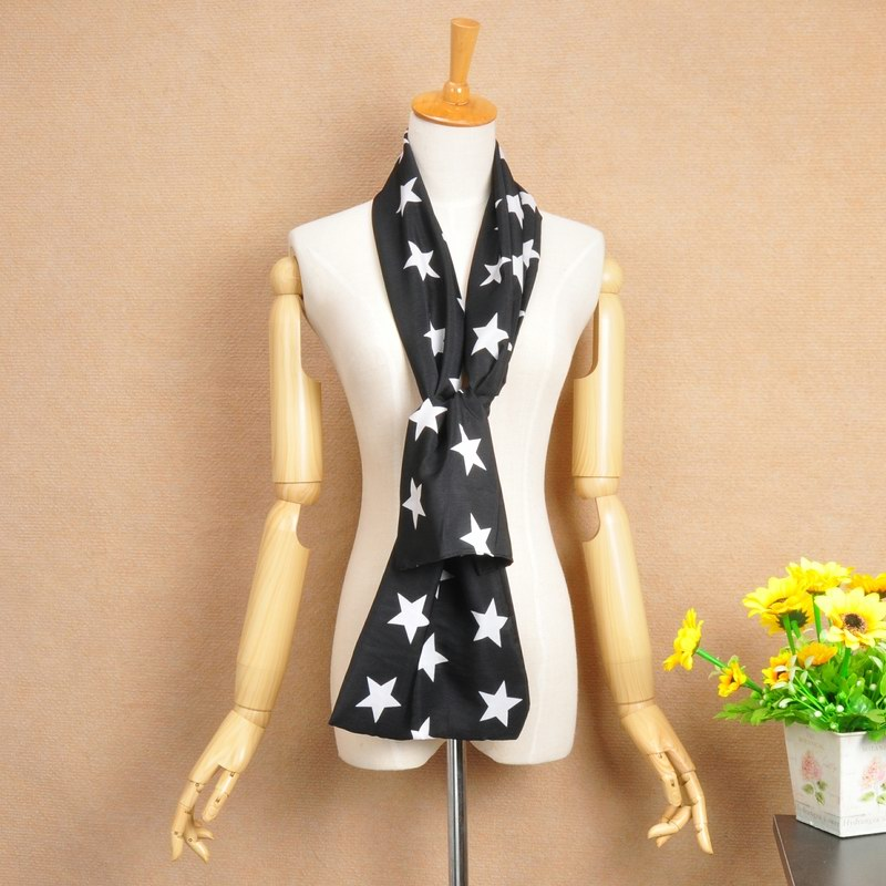 15 Black Chiffon Silk Scarf with white STAR printing - Click Image to Close