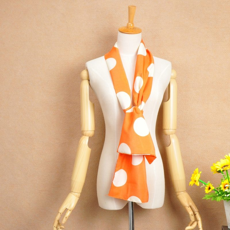 15 Orange Silk Scarf with white big dot print