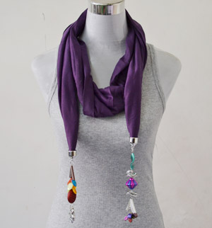 Scarves with jewelry attached for women