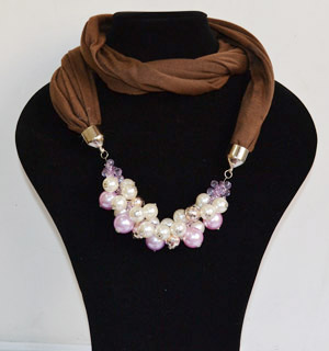 Pearl pendant cotton scarves