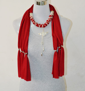 Red scarves with pendant