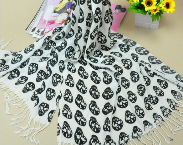 Skull Pattern Cotton Pashmina Scarf for sale