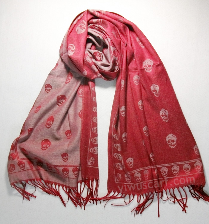 Skull mercerized cotton scarves wholesale