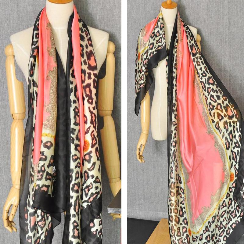 1 New Fashion Silk Shawls with Leopard Print