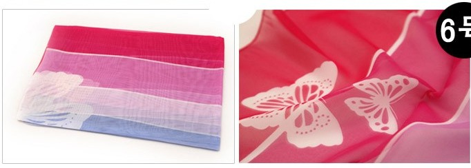 Pink beach scarf with butterfly pattern