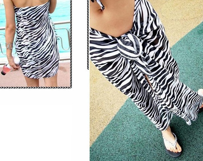 Beach Scarf with zebra pattern