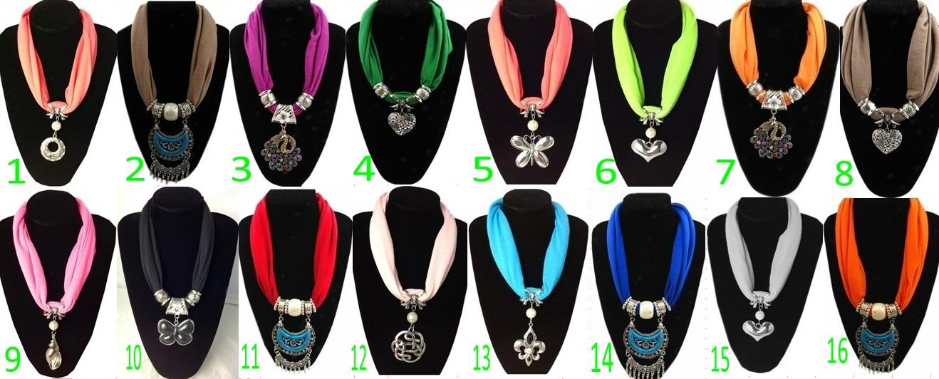 Buy cheap short jewellery scarves with metal pendants