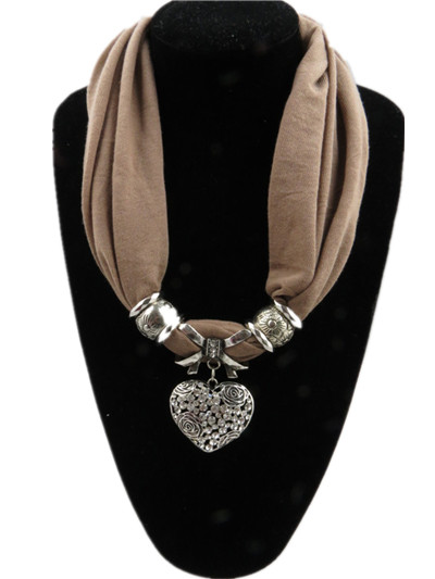 Buy jewelry scarfs with heart pendant attached