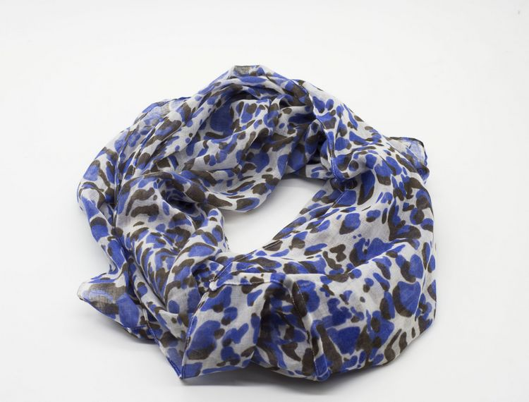 Blue Leopard Print Infinity Scarf