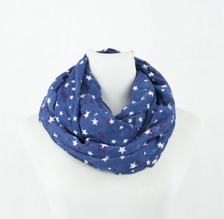 SEO_COMMON_KEYWORDS Navy Blue Infinity Scarf with star printed