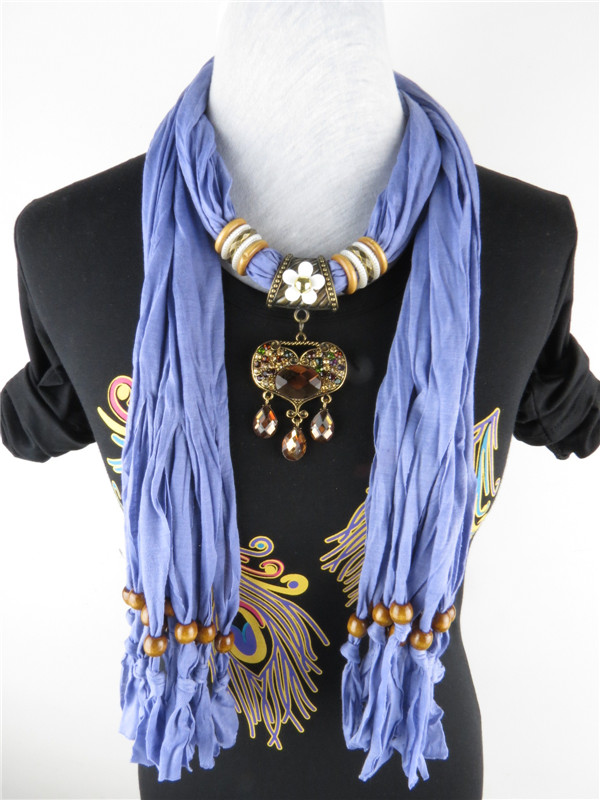 Flower Pendant Necklace Tassel Scarves