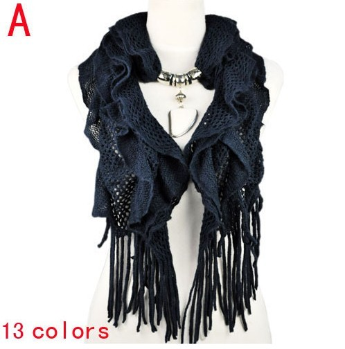 women winter warm waved shaped pendant jewelry necklace scarf Wh