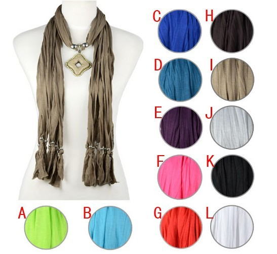 Franch style fashion scarf with jewelry pendant charms