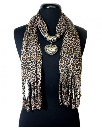 2013 Hot sale Animal Print Scarves with heart jewelry pendants f