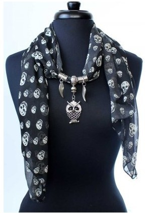 2013 spring Skull design scarf with owl pendant scarves wholesal