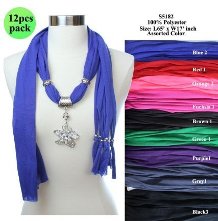 Flower Fashion Necklace Jewelry Tassel Pendant Scarves