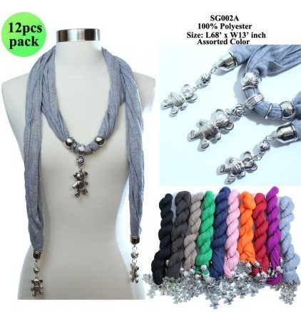 SEO_COMMON_KEYWORDS USA style fashion scarf with bear shaper jewelry pendant