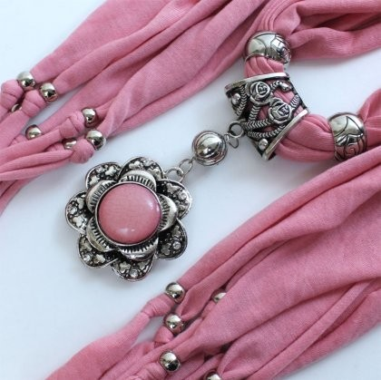 Canada tassel Jewelry Necklace Scarf with pink round charm